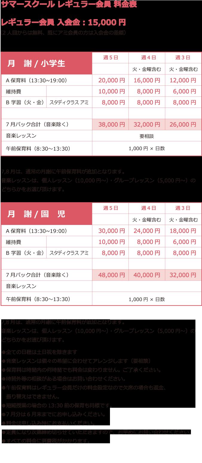 鎌倉アミ 夏の学童 レギュラー会員
