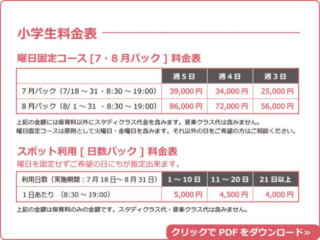 鎌倉アミ サマースクール小学生料金表